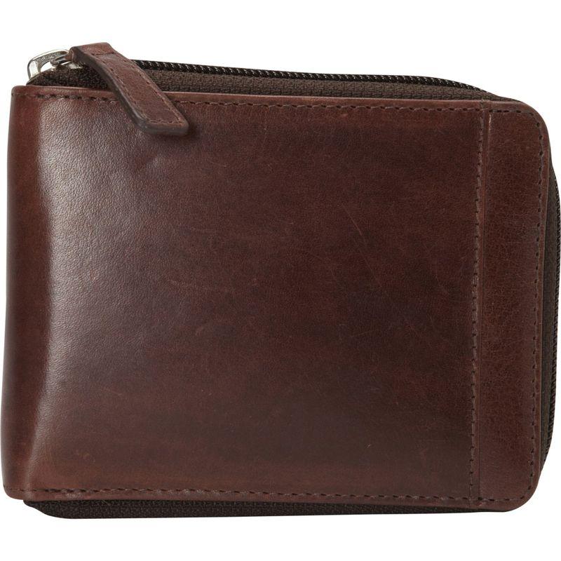 マンシニレザーグッズ メンズ 財布 アクセサリー Casablanca Collection: Men's RFID Zippered Wallet with Removable Passcase Brown