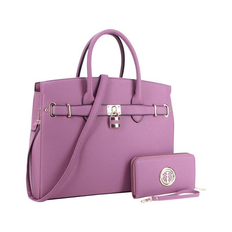 ダセイン メンズ ハンドバッグ バッグ Faux Leather Satchel with Matching Wallet Purple