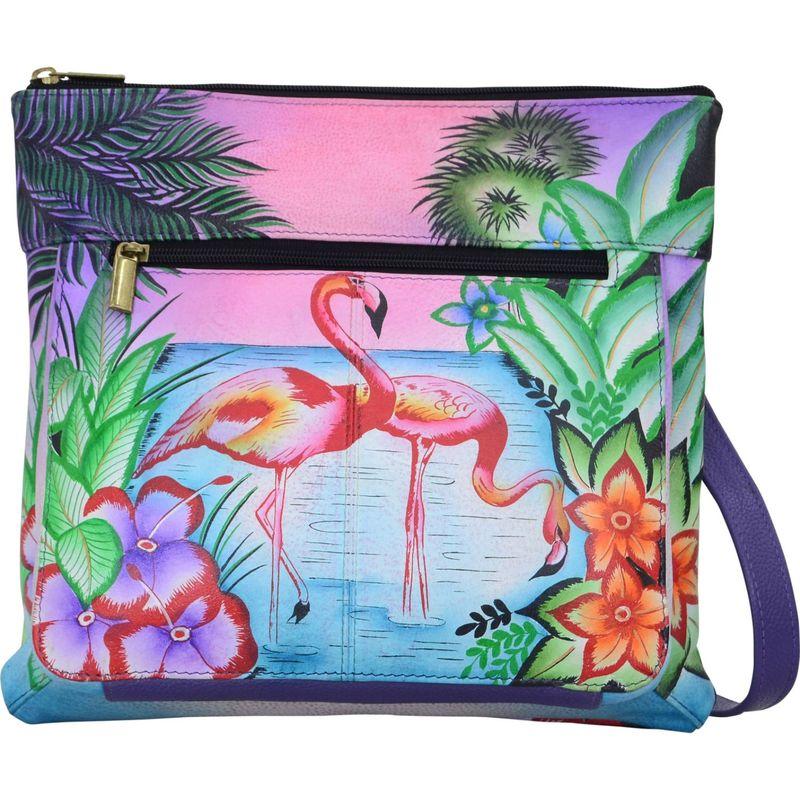 アンナバイアナシュカ メンズ ボディバッグ・ウエストポーチ バッグ Hand Painted Medium Crossbody Tropical Flamingos