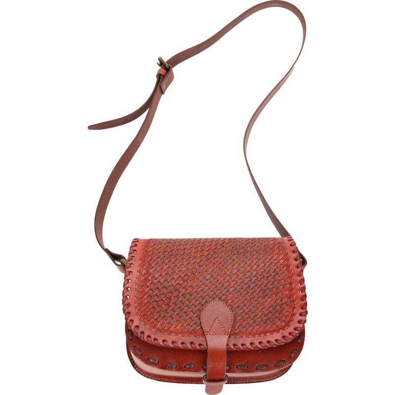 アールアンドアール メンズ ショルダーバッグ バッグ Hand Tooled Basket Weave Flap Shoulder Bag TAN