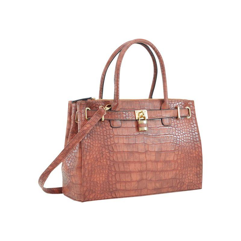 ダセイン メンズ ハンドバッグ バッグ Faux Crocodile Leather Padlock Shoulder Bags Cognac