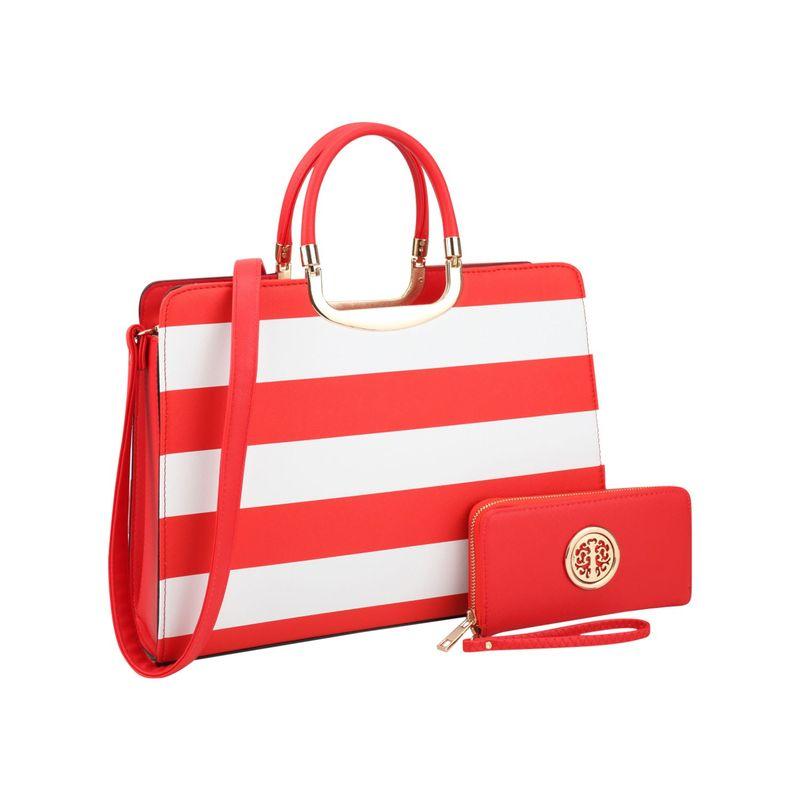 ダセイン メンズ ハンドバッグ バッグ Patent Striped Briefcase Satchel with Matching Wallet Red/White
