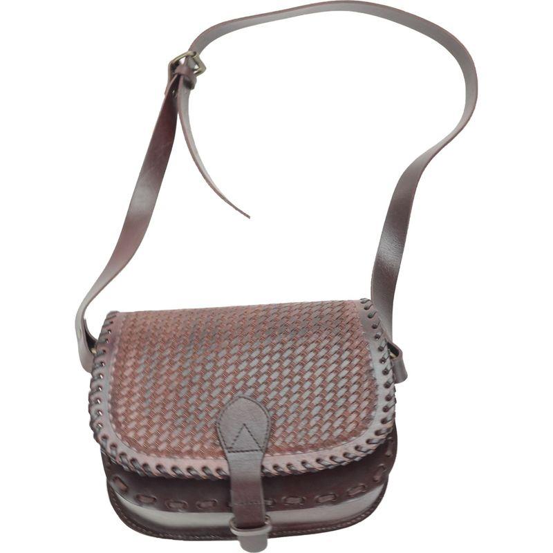 アールアンドアール メンズ ショルダーバッグ バッグ Hand Tooled Basket Weave Flap Shoulder Bag Brown