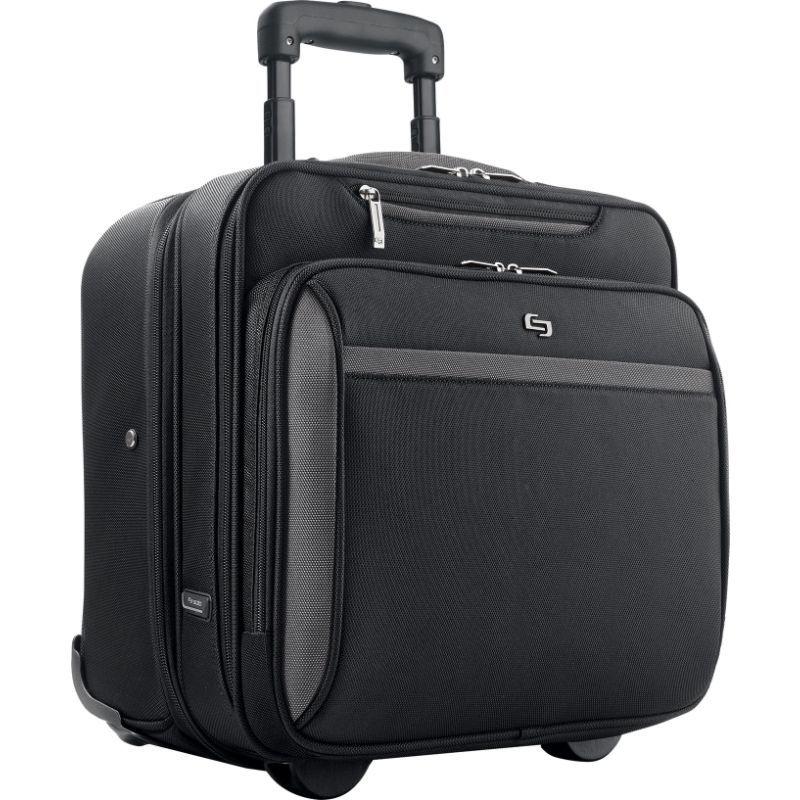 ソロ メンズ スーツケース バッグ 16 Laptop Rolling Case, Overnighter section and removable sleeve Black