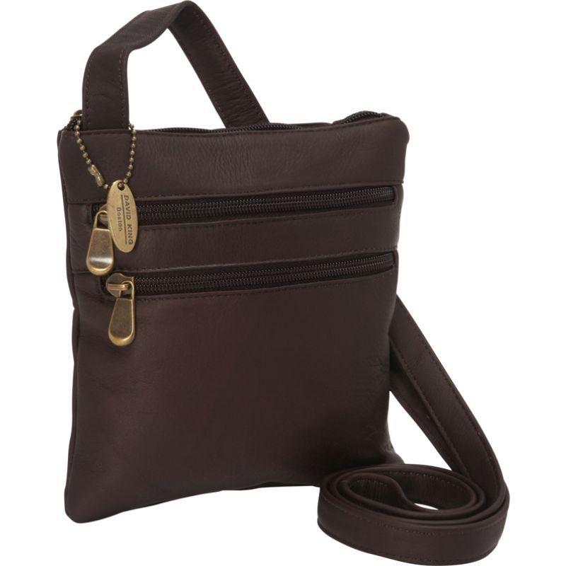 デビッドキング メンズ ボディバッグ・ウエストポーチ バッグ 3 Zip Cross Body Bag Cafe