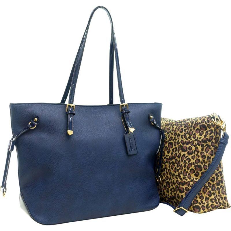 ダセイン メンズ トートバッグ バッグ 2-in-1 Patent Faux Leather Trim Tote Blue