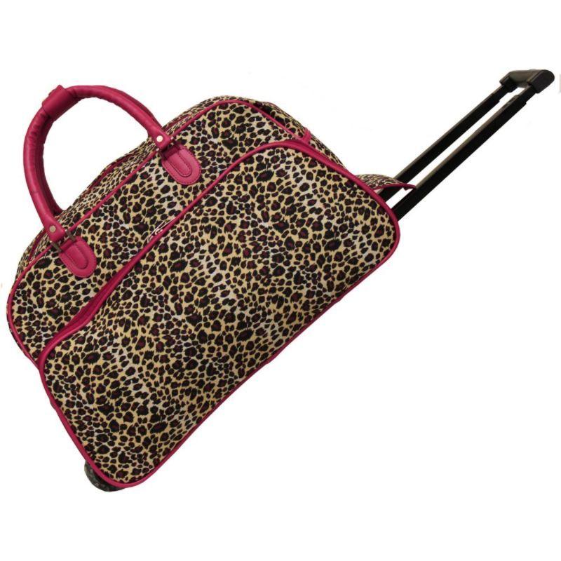 ワールドトラベラー メンズ スーツケース バッグ Leopard 21 Rolling Duffel Bag Pink Trim Leopard