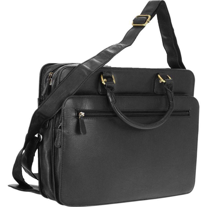 アールアンドアール メンズ スーツケース バッグ Genuine Leather Briefcase With Zip Around Pocket Black