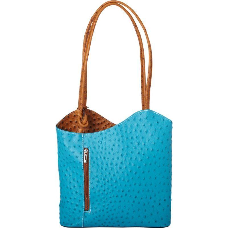 シャロレザーバッグス メンズ ショルダーバッグ バッグ Two Toned Textured Italian Leather Handbag Turquoise/Tan
