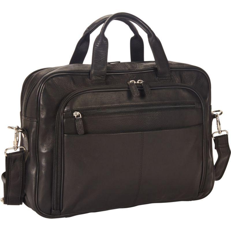 マンシニレザーグッズ メンズ スーツケース バッグ Colombian Zippered Double Compartment 15.6 Laptop/Tablet Briefcase Black