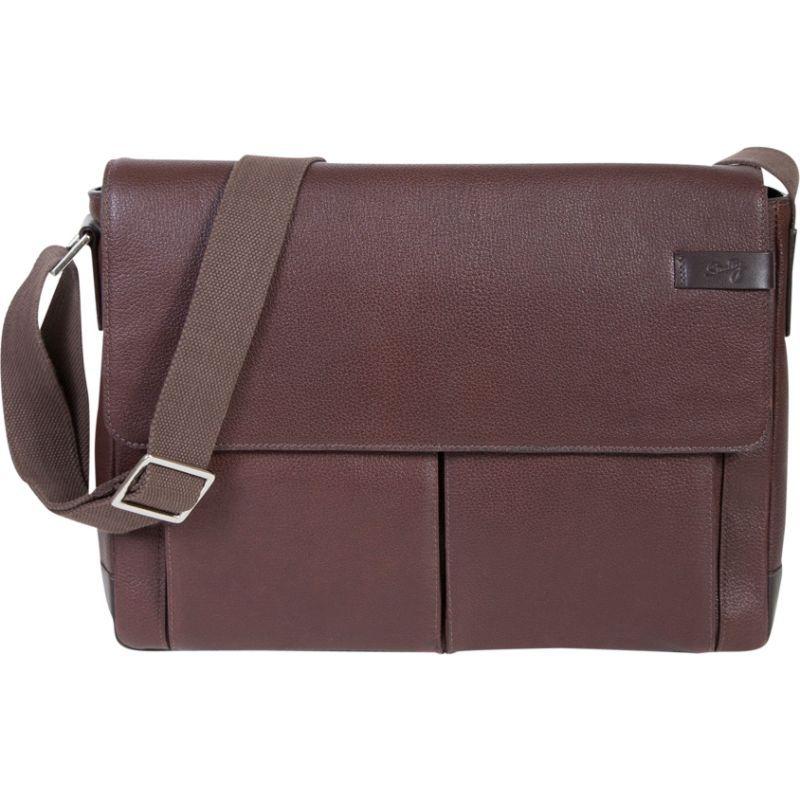 スカーリー メンズ ショルダーバッグ バッグ Sierra Leather Front Flap Closure Workbag Brown