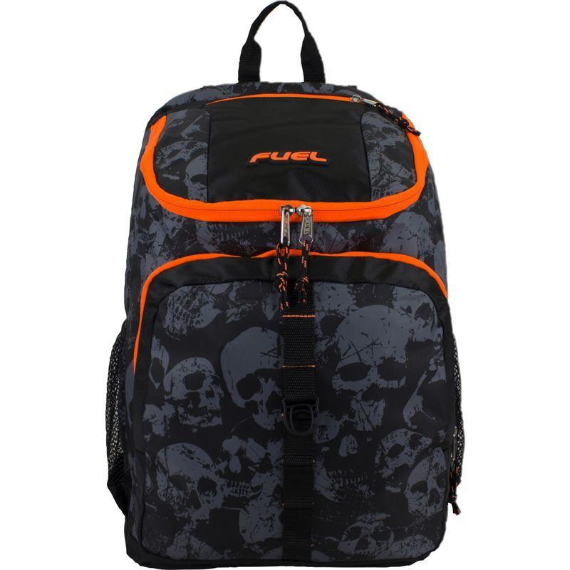 フュエル メンズ バックパック・リュックサック バッグ Wide Mouth Sports Backpack Black/Orange/Skull Print