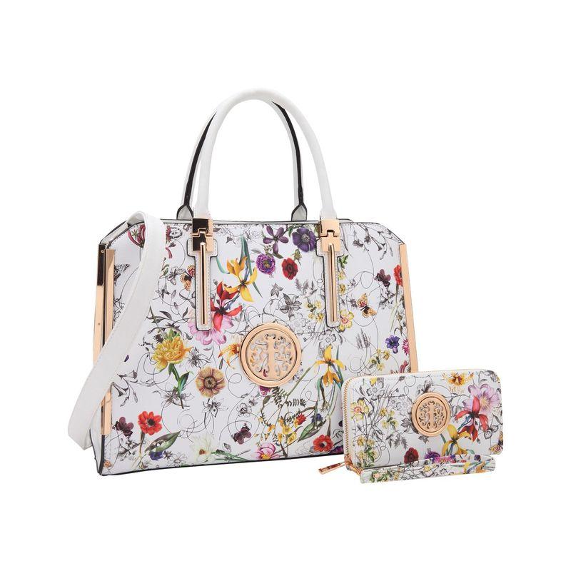 ダセイン メンズ スーツケース バッグ Simply Classic Briefcase with Matching Wallet White Flower