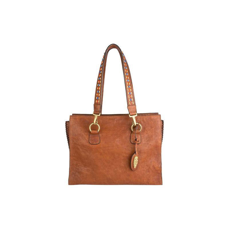 ハイデザイン メンズ ショルダーバッグ バッグ Kiboko Leather Work Bag Tan
