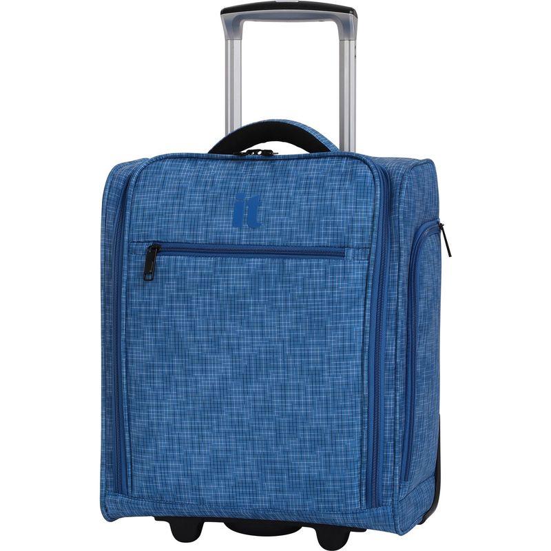 アイティー メンズ スーツケース バッグ Stitched Squares 17.1 2 Wheel Lightweight Underseat Tote Victoria Blue