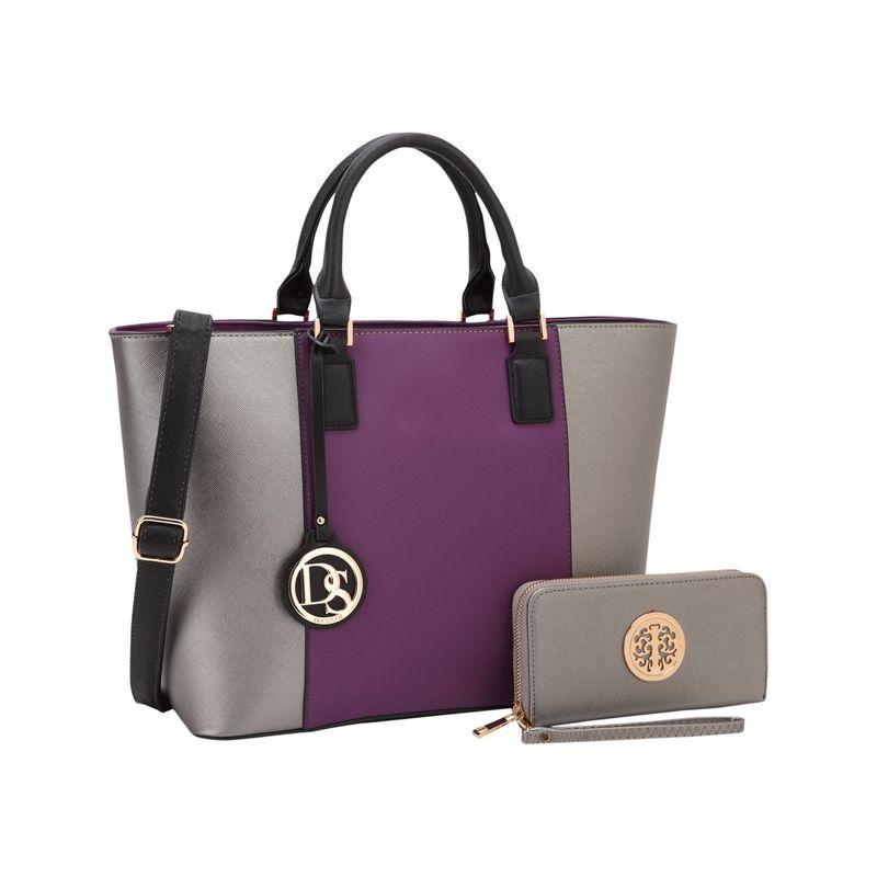 ダセイン メンズ ハンドバッグ バッグ Medium Classic Satchel with Matching Wallet Purple/ Pewter