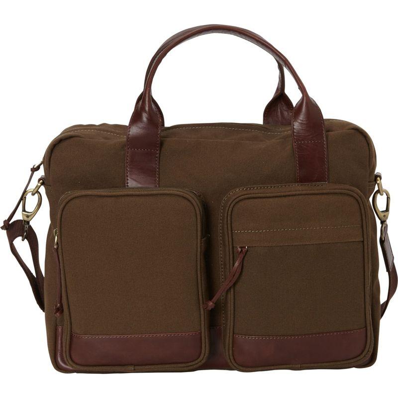 マンシニレザーグッズ メンズ スーツケース バッグ Single Compartment Briefcase for 15.6 Laptop Olive - Brown Trim