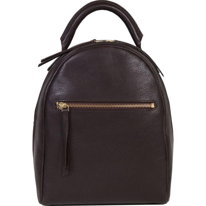 スカーリー メンズ バックパック・リュックサック バッグ Compact Glazed Calf Leather Backpack Chocolate