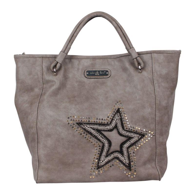 ニコルリー メンズ トートバッグ バッグ Brona Glitz Star Patch Tote Bag Grey