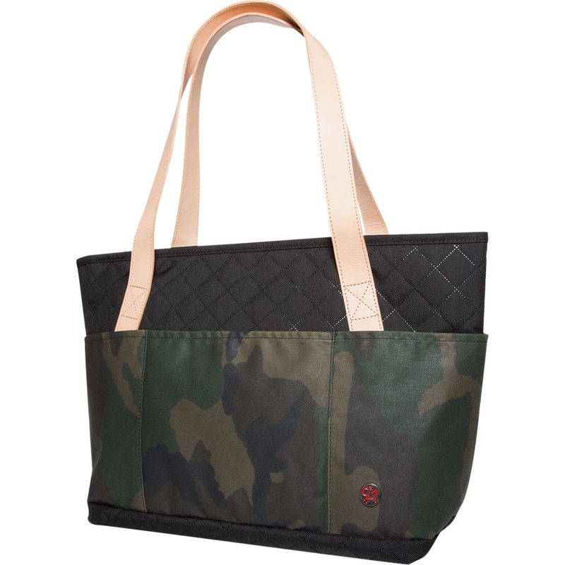 トーケン メンズ ショルダーバッグ バッグ Quilted And Waxed Clinton Tote Bag (S) Black/Camouflage