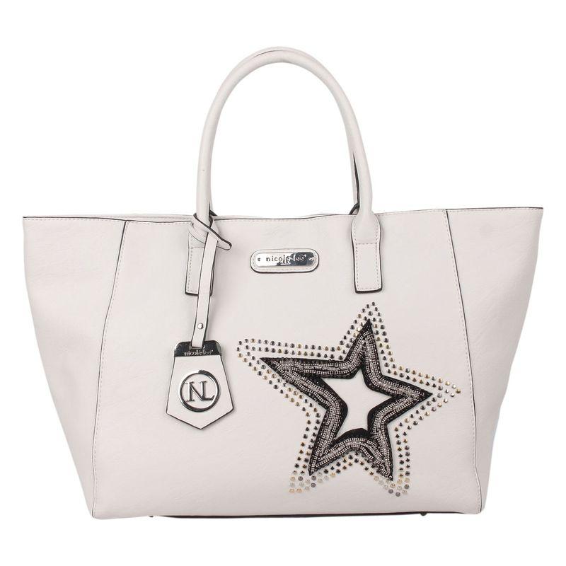 ニコルリー メンズ ショルダーバッグ バッグ Brona Glitz Star Patch Shopper Bag White