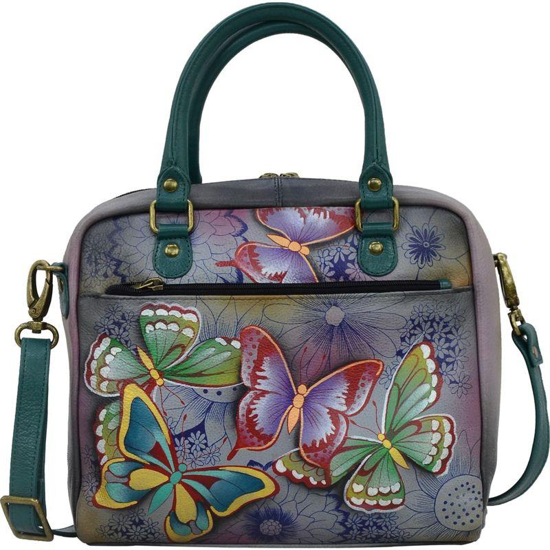 アンナバイアナシュカ メンズ ボディバッグ・ウエストポーチ バッグ Hand Painted Leather All Round Zippered Crossbody Butterfly Paradise