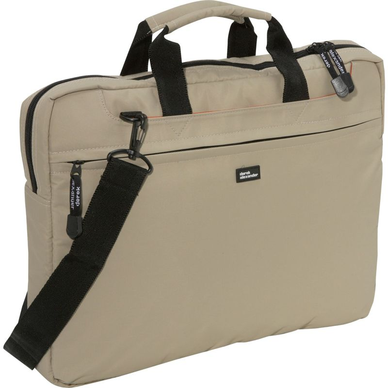 デレクアレクサンダー メンズ スーツケース バッグ Slim Computer Brief Tan
