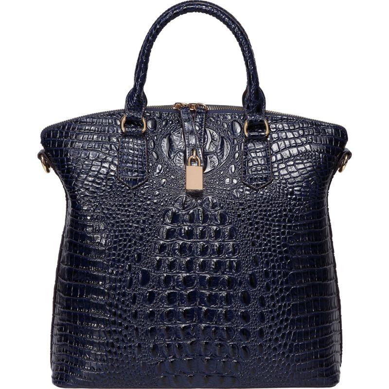 ビンセンゾレザー メンズ トートバッグ バッグ Dione Croc Embossed Top Handle Leather Tote Blue