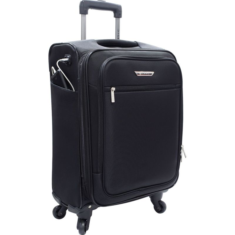 トラベラーズクラブ メンズ スーツケース バッグ Sabre 20 Embedded USB Port Expandable Carry-On Spinner - EXCLUSIVE Black