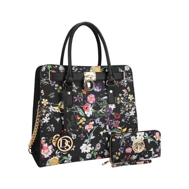 ダセイン メンズ ハンドバッグ バッグ Large Flower Print Satchel with Matching Wallet Black Flower