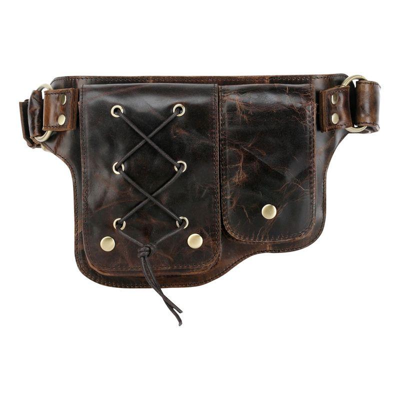 ビンセンゾレザー メンズ ボディバッグ・ウエストポーチ バッグ Adonis 2 Leather Waist Pack Hip Purse Y-Brown