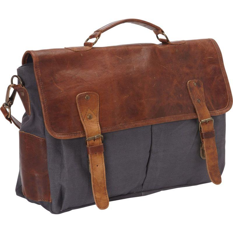 シャロレザーバッグス メンズ スーツケース バッグ Laptop Messenger Bag and Brief BG Brown Leather/Gray Canvas Brown and Gray Two Tone
