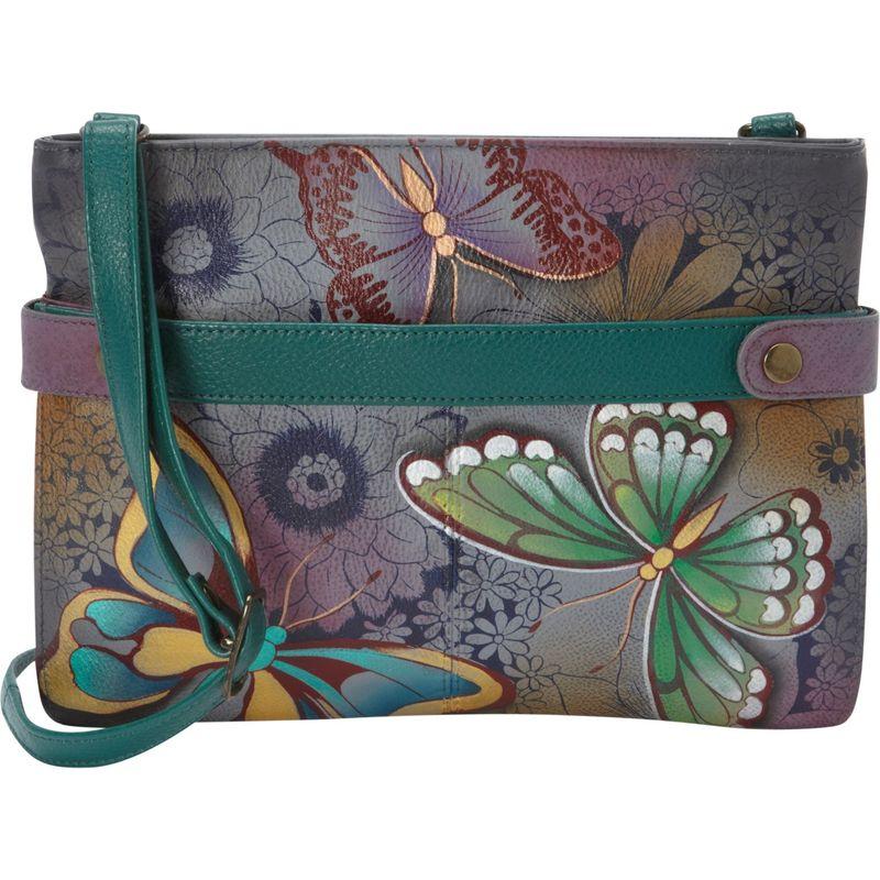 アンナバイアナシュカ メンズ ボディバッグ・ウエストポーチ バッグ Hand Painted Leather Medium Crossbody Butterfly Paradise