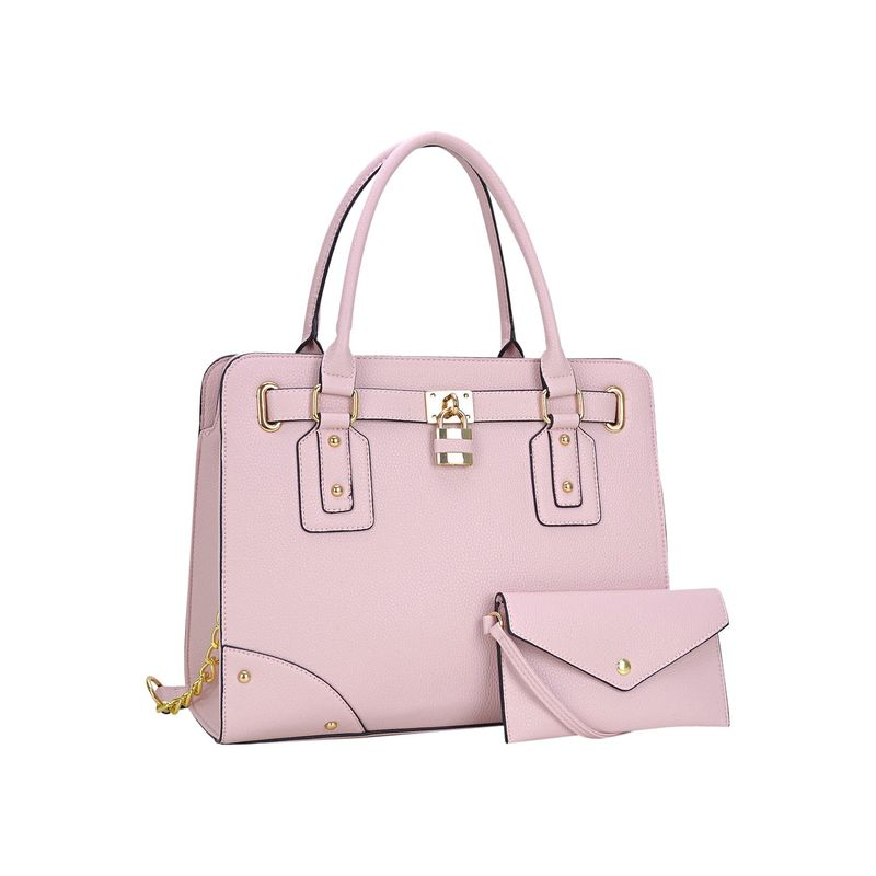 ダセイン メンズ ハンドバッグ バッグ Padlock Deco Belted Satchel with Matching Wristlet Pink