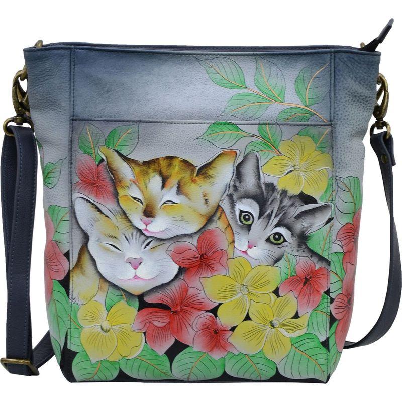 アンナバイアナシュカ メンズ ハンドバッグ バッグ Hand Painted Leather Large Hobo Three Kittens