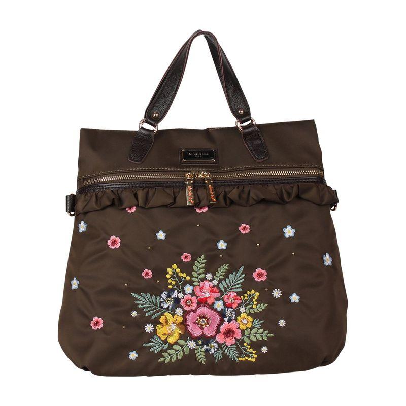 ニコルリー メンズ バックパック・リュックサック バッグ Embroidery Design Convertible Backpack Khaki