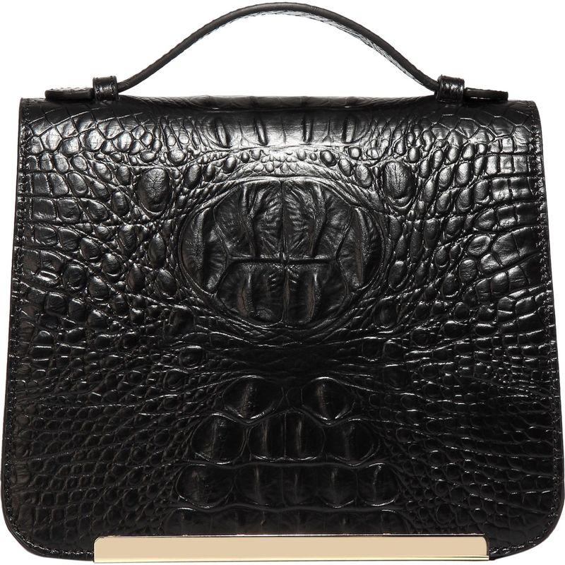 ビンセンゾレザー メンズ ボディバッグ・ウエストポーチ バッグ Inaya Croc Embossed Leather Crossbody Handbag Black