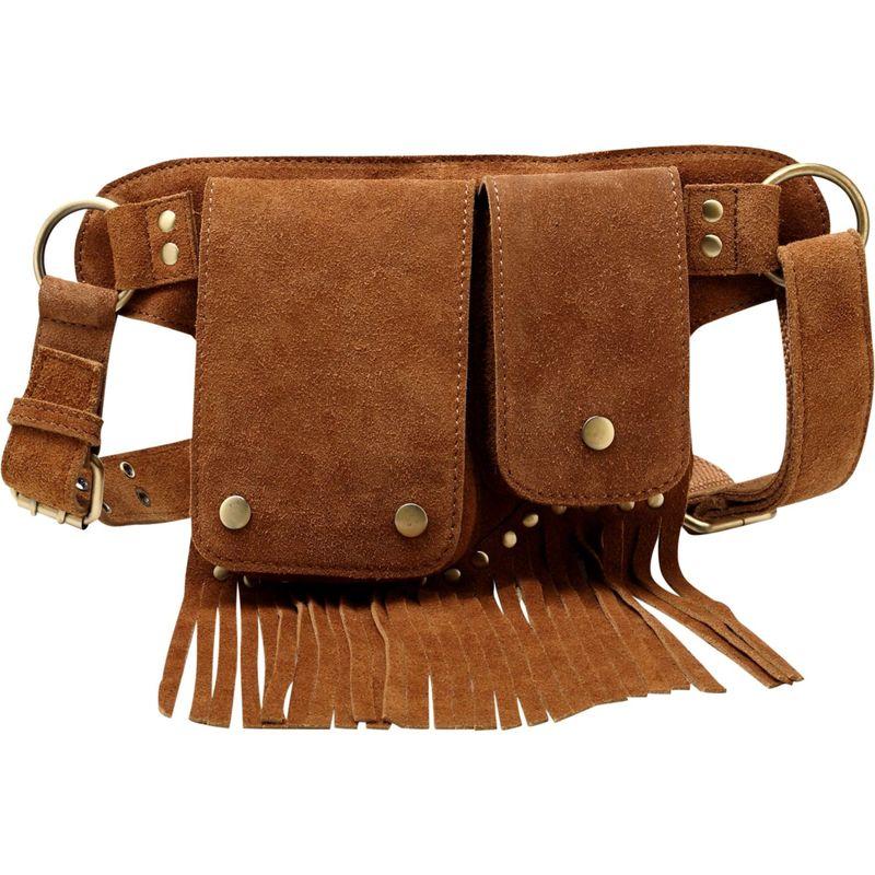ビンセンゾレザー メンズ ボディバッグ・ウエストポーチ バッグ Floretta Suede Leather Waistpack Brown