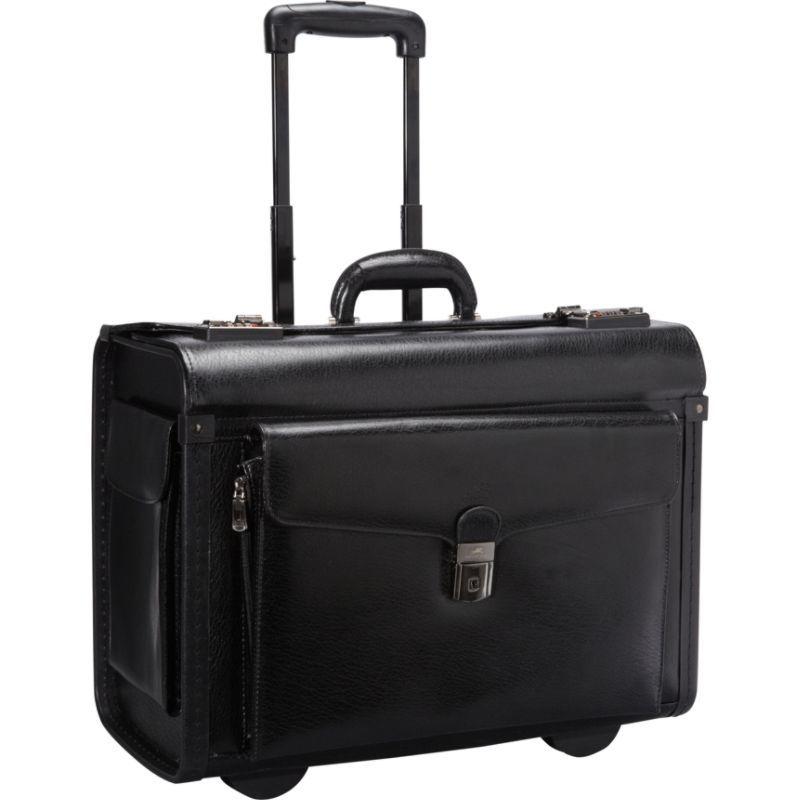 マンシニレザーグッズ メンズ スーツケース バッグ Deluxe Wheeled 17 Laptop Catalog Case Black