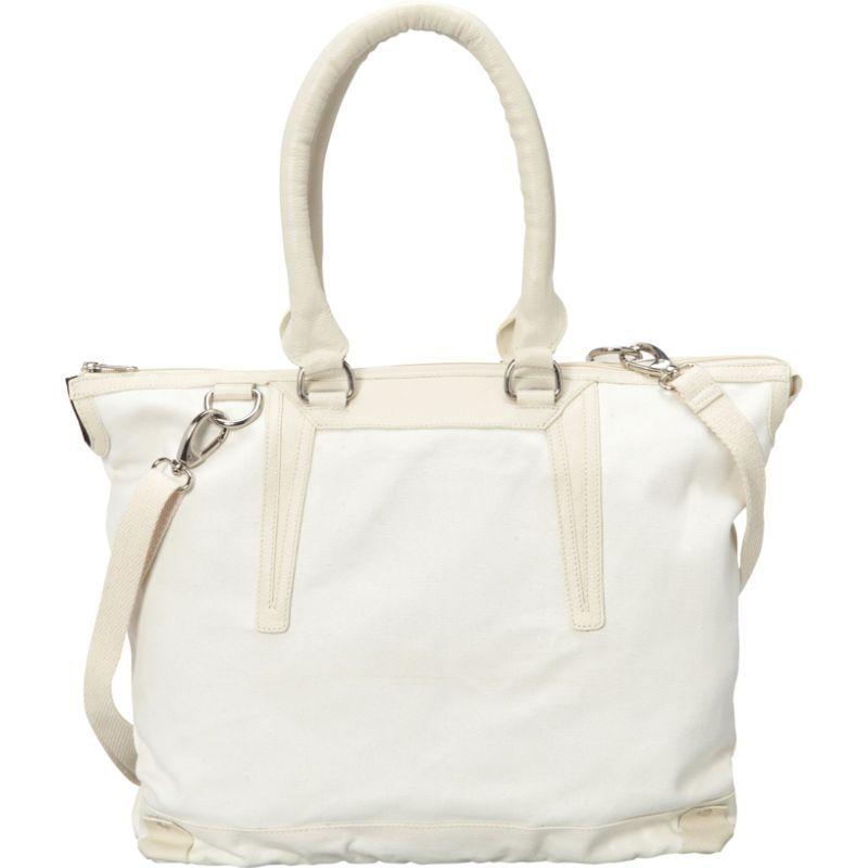 シャロレザーバッグス メンズ トートバッグ バッグ Large Canvas and Leather Tote Handbag White/Beige Two Tone