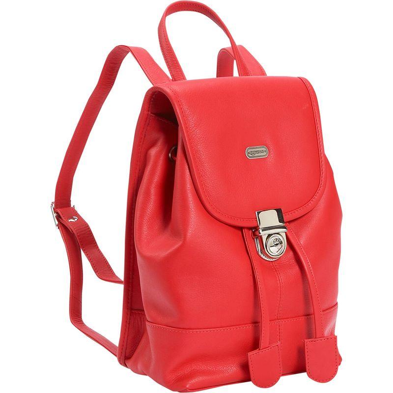 レザーベイ メンズ バックパック・リュックサック バッグ Leather Mini Backpack Purse Crimson Red