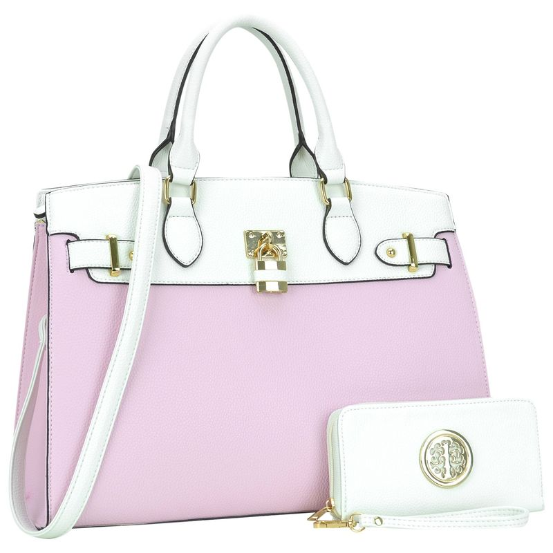 ダセイン メンズ ハンドバッグ バッグ Two Tone Padlock Satchel with Matching Wallet Pink/White