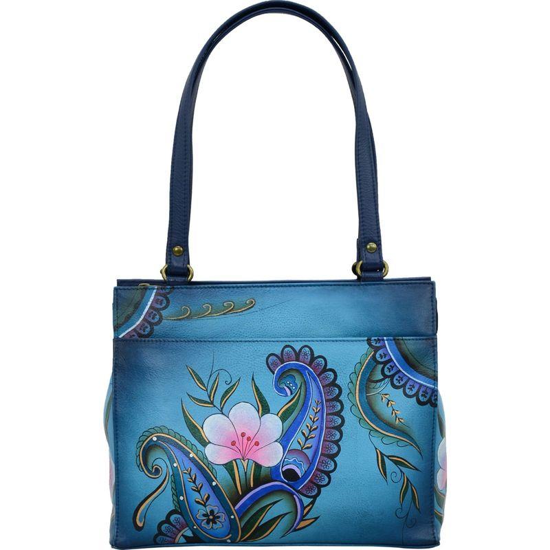 アンナバイアナシュカ メンズ ショルダーバッグ バッグ Hand Painted Leather Medium Shoulder Bag Denim Paisley Floral