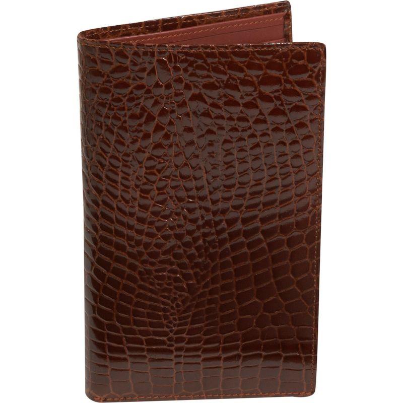 バッドレザー メンズ 財布 アクセサリー Crocodile Bidente Large Credit Card Secretary Cognac