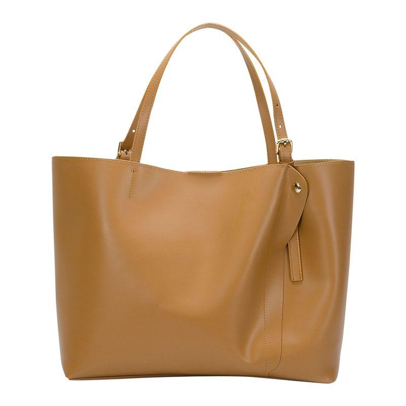 リサミナルディ メンズ ショルダーバッグ バッグ Leather Shoulder Bag Cognac
