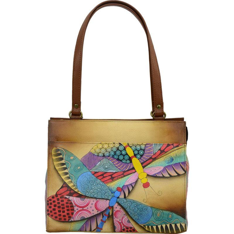 アンナバイアナシュカ メンズ ショルダーバッグ バッグ Hand Painted Leather Medium Shoulder Bag Dancing Dragonflies