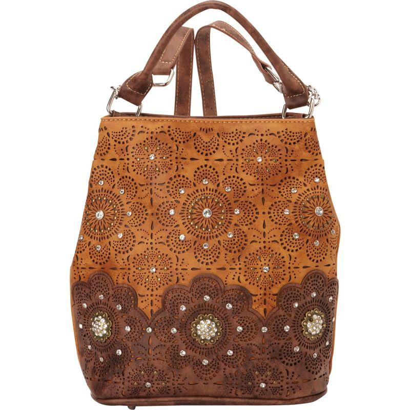 モンタナウェスト メンズ バックパック・リュックサック バッグ Laser Cut-Out Floral Pattern Backpack Brown