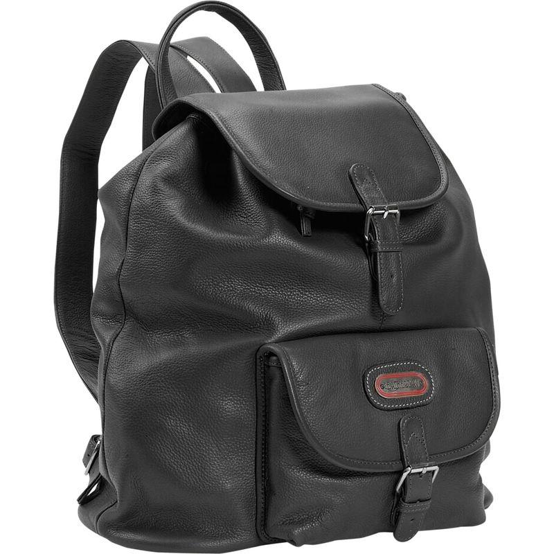 レザーベイ メンズ バックパック・リュックサック バッグ Leather Backpack w/One Pocket Black
