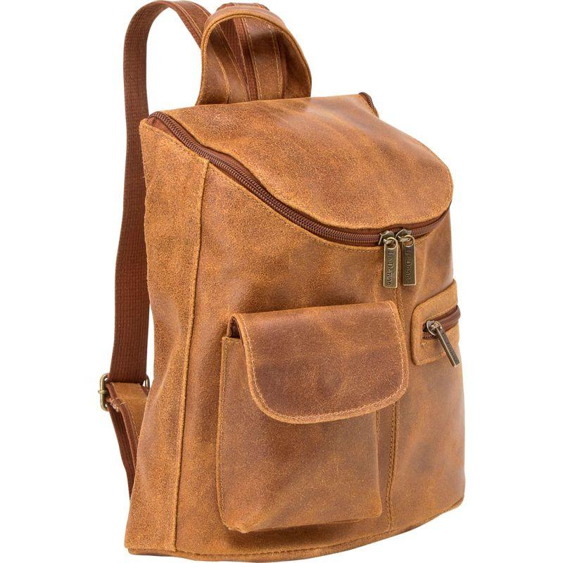 ルドネレザー レディース バックパック・リュックサック バッグ Distressed Leather Womens Backpack/Purse Tan