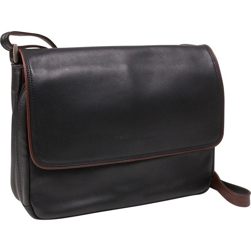 デレクアレクサンダー メンズ ショルダーバッグ バッグ Three Quarter Front Flap Handbag Black/Brandy